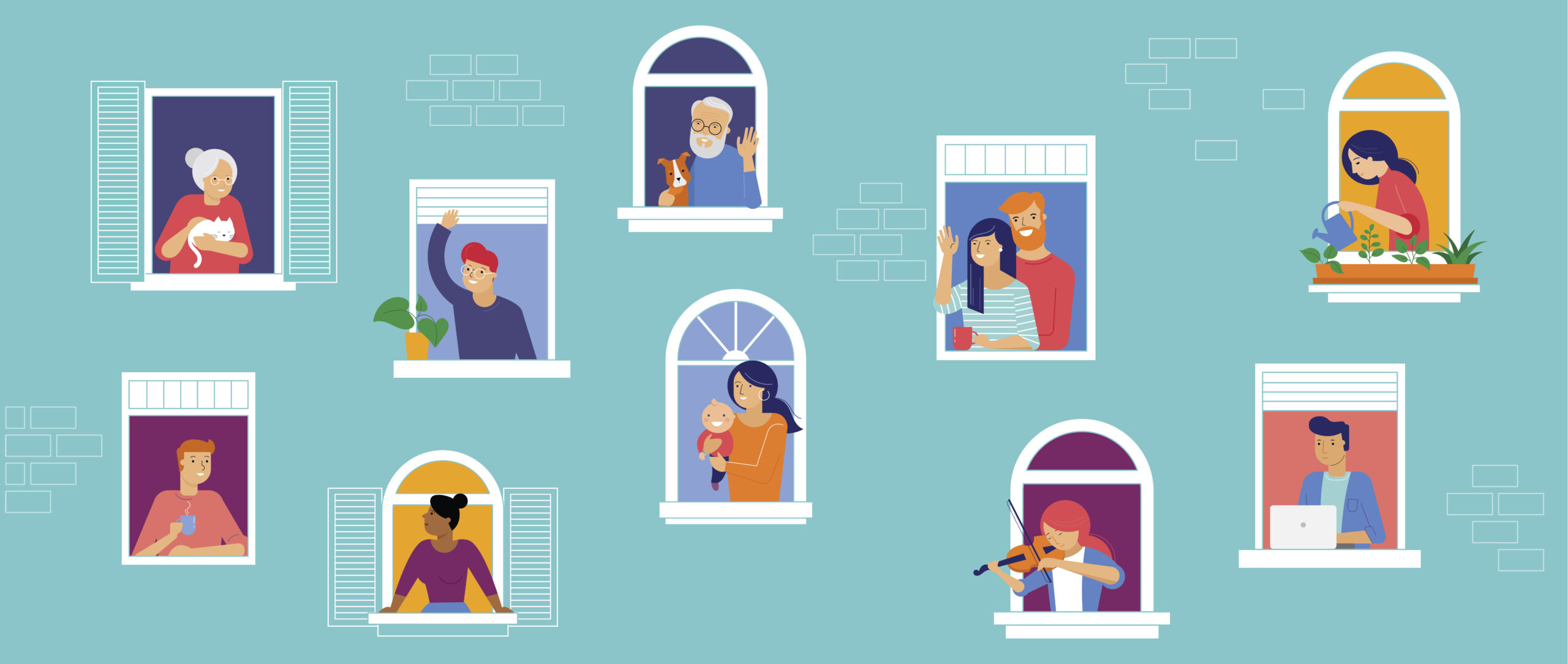 illustration of people at home in windows