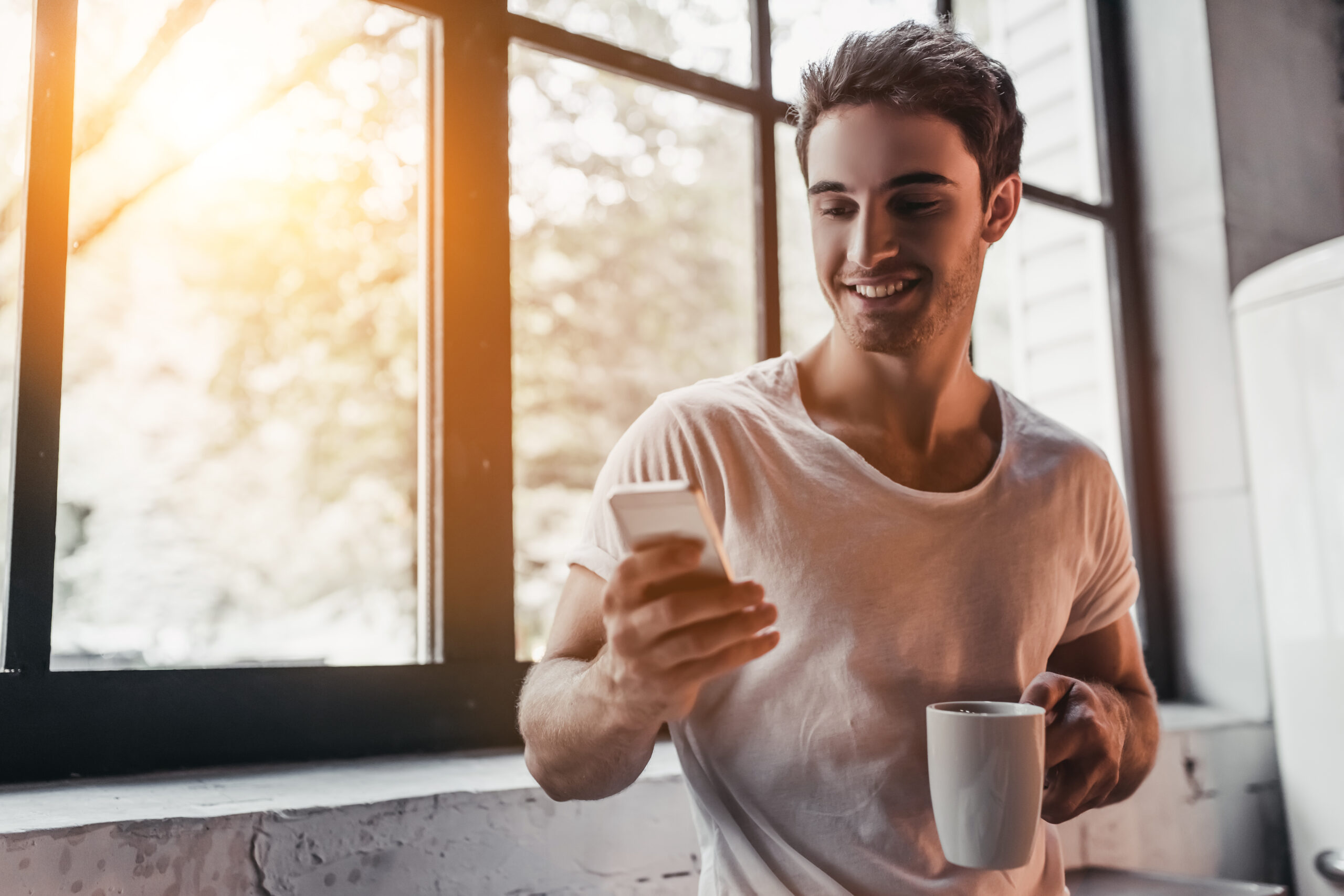 Man using app with new tea