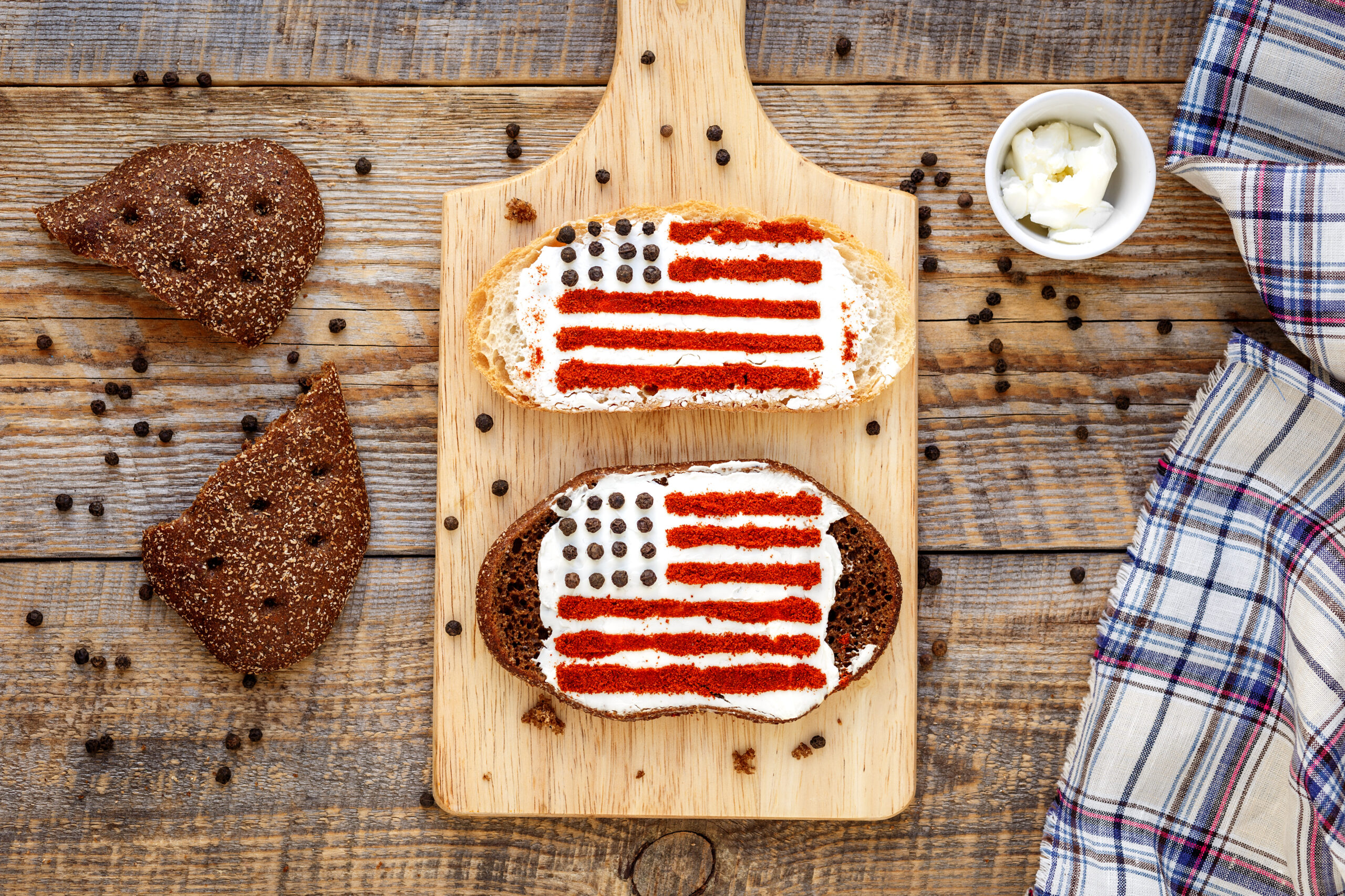 Two sandwiches with image of american flag.