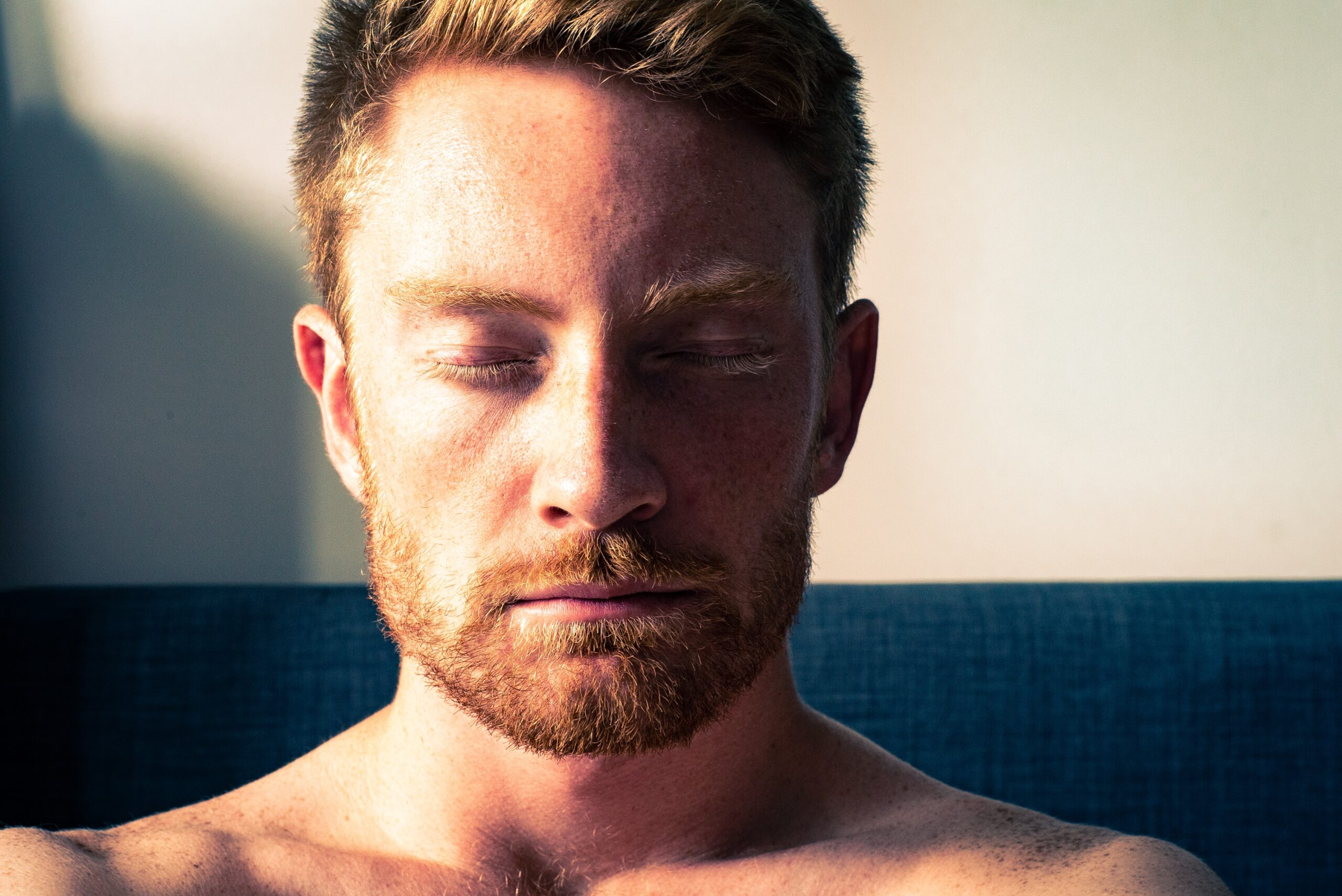 Image of man breathing at home